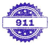Scratched 911 Stamp Seal. 911 stamp watermark with dirty style. Blue vector rubber seal print of 911 text with dirty texture stock illustration
