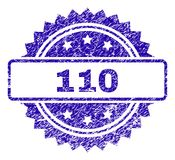 Scratched 110 Stamp Seal. 110 stamp watermark with grainy style. Blue vector rubber seal print of 110 label with scratched texture stock illustration