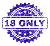 Scratched 18 ONLY Stamp Seal. 18 ONLY stamp watermark with grunge style. Blue vector rubber seal print of 18 ONLY title with grunge texture stock illustration