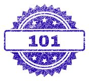 Grunge 101 Stamp Seal. 101 stamp watermark with scratched style. Blue vector rubber seal print of 101 label with scratched texture stock illustration