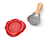 Stamp and wax seal with email mark Royalty Free Stock Photos