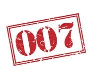 007 stamp on white background. 007 red vintage stamp isolated on white background Royalty Free Stock Photos