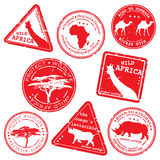 Stamp, wild africa, vector set Royalty Free Stock Image