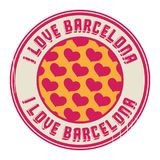 Stamp With Text I Love Barcelona Royalty Free Stock Images