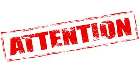 Attention. Stamp with word attention inside,  illustration Royalty Free Stock Images