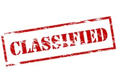 Classified. Stamp with word classified inside,  illustration Stock Photos