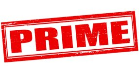 Prime. Stamp with word prime inside,  illustration Stock Photography