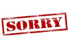 Sorry. Stamp with word sorry inside,  illustration Royalty Free Stock Photo