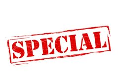 Special. Stamp with word special inside,  illustration Stock Images