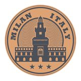 Stamp with words Milan, Italy. Inside, vector illustration Stock Photography