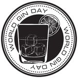Stamp World Gin Day. Round stamp print for World Gin Day royalty free illustration
