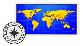 Stamp and world map Stock Image