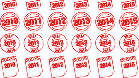 Stamp years. Different grunge stamps of 6 following years vector illustration