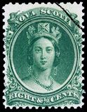 Stamp with a youthful portrait of Queen Victoria. Nova Scotia as an independent colony before becoming part of Canada issued this stamp with a youthful portrait stock image