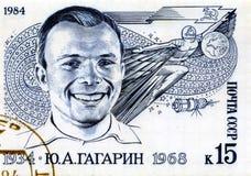 Stamp With Yuri Gagarin. Black and white post stamp with cosmonaut Yuri Gagarin Stock Photo