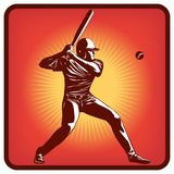Graphics icon of baseball player with bat and ball. Vector illustration, red background stock illustration