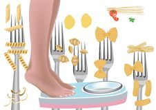 Pasta based diet.  royalty free illustration