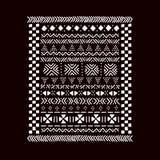 Stampa africana tradizionale in bianco e nero del tessuto del mudcloth, vettore Fotografia Stock