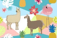 Stampa animale creativa Modello senza cuciture di vettore con i lama, i fenicotteri ed i fiori Fotografia Stock