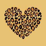 Stampa animale del cuore della pelle del leopardo, vettore Fotografie Stock