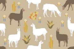 Stampa animale etnica Modello senza cuciture di vettore con i lama su fondo beige Fotografie Stock