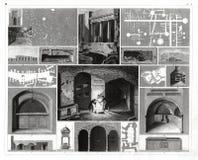 Stampa antica 1874 delle catacombe a Roma, Italia Immagini Stock
