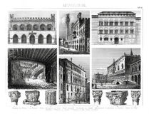 Stampa antica 1874 di Italina gotica e di architettura di rinascita Immagine Stock Libera da Diritti