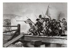 Stampa antica 1860: La battaglia del ponte di accordo, guerra di indipendenza americana, aprile 1775 Fotografia Stock Libera da Diritti