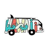 Stampa in bianco e nero della spuma delle Hawai Iscrizione disegnata a mano con un furgoncino Illustrazione del bus di vettore Fotografia Stock Libera da Diritti