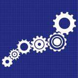 Stampa blu del meccanismo della trasmissione con gli schizzi tecnici Immagine Stock Libera da Diritti