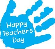Stampa blu della mano dell'insegnante di giorno felice del ` s Immagine Stock Libera da Diritti