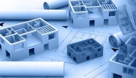 Stampa blu di un progetto architettonico Fotografia Stock