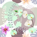 Stampa botanica con la tavolozza di colori pastelli Fotografie Stock Libere da Diritti