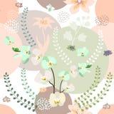 Stampa botanica con la tavolozza di colori pastelli Fotografia Stock