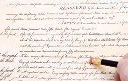 Stampa cancellando costituzione degli Stati Uniti dell'primo emendamento Immagini Stock Libere da Diritti