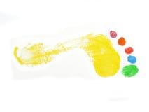 Stampa colorata del piede Fotografie Stock Libere da Diritti
