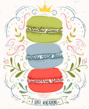 Stampa con maccheroni messi Fotografie Stock