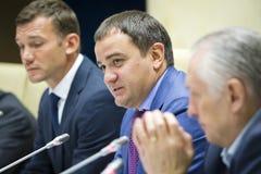 Stampa-conferenza del primo allenatore della squadra di football americano nazionale di Ukra Immagine Stock Libera da Diritti