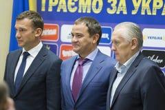 Stampa-conferenza del primo allenatore della squadra di football americano nazionale di Ukra Immagini Stock Libere da Diritti