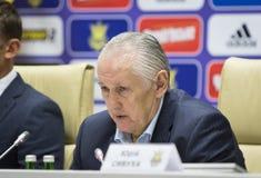 Stampa-conferenza del primo allenatore della squadra di football americano nazionale di Ukra Fotografie Stock Libere da Diritti
