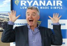 Stampa-conferenza di Ryanair all'aeroporto di Kyiv-Boryspil, Ucraina Fotografia Stock Libera da Diritti