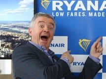 Stampa-conferenza di Ryanair all'aeroporto di Kyiv-Boryspil, Ucraina Fotografie Stock Libere da Diritti