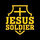 Stampa cristiana Incrocio sullo schermo Soldato di Gesù illustrazione vettoriale