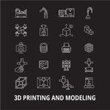 stampa 3d e modellare linea editabile insieme di vettore delle icone su fondo nero stampa 3d e modellare profilo bianco illustrazione vettoriale