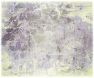 Stampa del fiore dell'inchiostro sul documento costolato dell'oggetto d'antiquariato Fotografia Stock