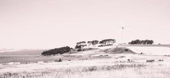 Stampa del lith di paesaggio della turbina di vento Immagine Stock