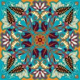 Stampa dell'ornamento della bandana di Paisley di vettore Foulard di seta, cuscino, progettazione interna del modello del quadrat Fotografia Stock Libera da Diritti
