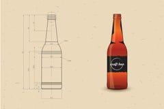 Stampa della bottiglia di birra Fotografia Stock