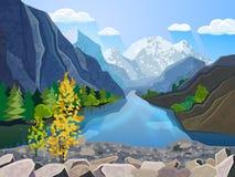 Stampa della gamma di montagne di estate del paesaggio illustrazione di stock