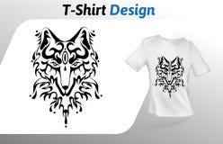 Stampa della maglietta del fronte del lupo stilizzata tatuaggio Derisione sul modello di progettazione della maglietta Modello di Fotografia Stock